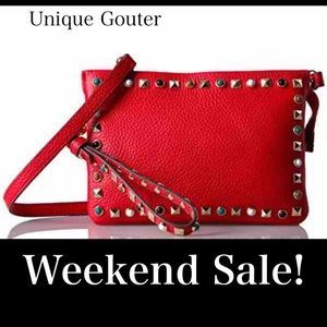 VINCE CAMUTO  TYSA LEATHER CROSSBODY BAG _ Red